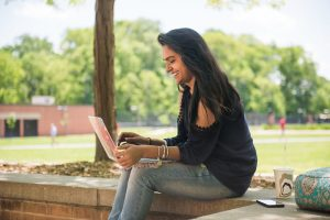 Student working on her laptop